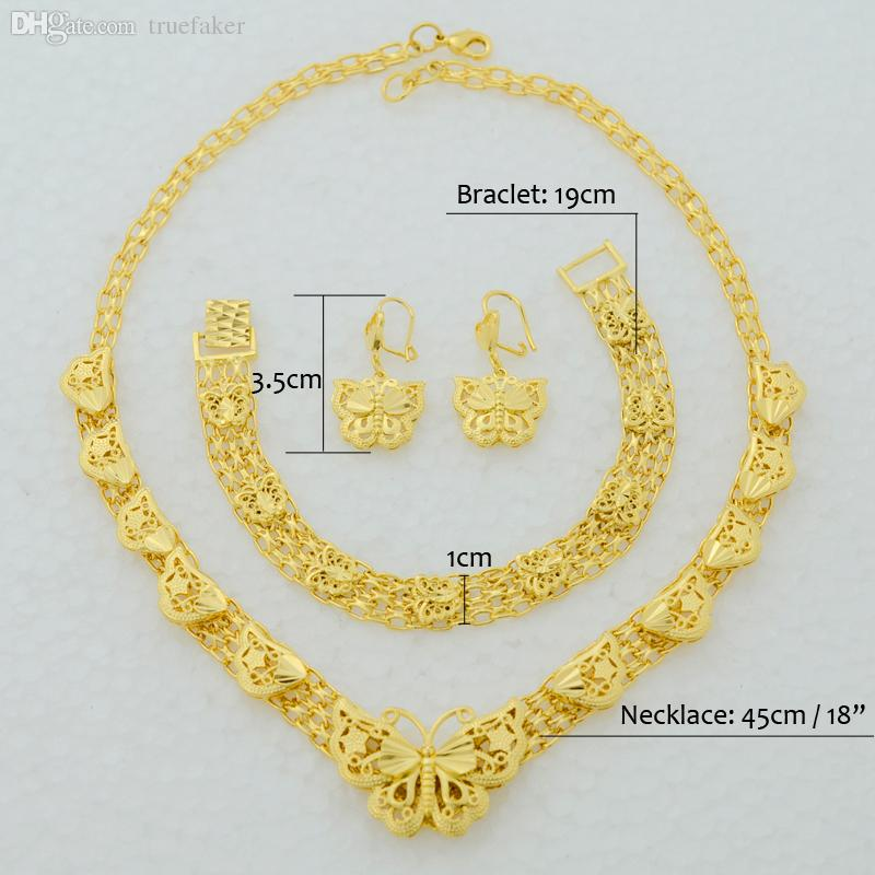 Indian 22k Gold Plated Wedding Necklace Earrings Jewelry: 2019 Wholesale Butterfly Set Jewelry Necklace Earrings