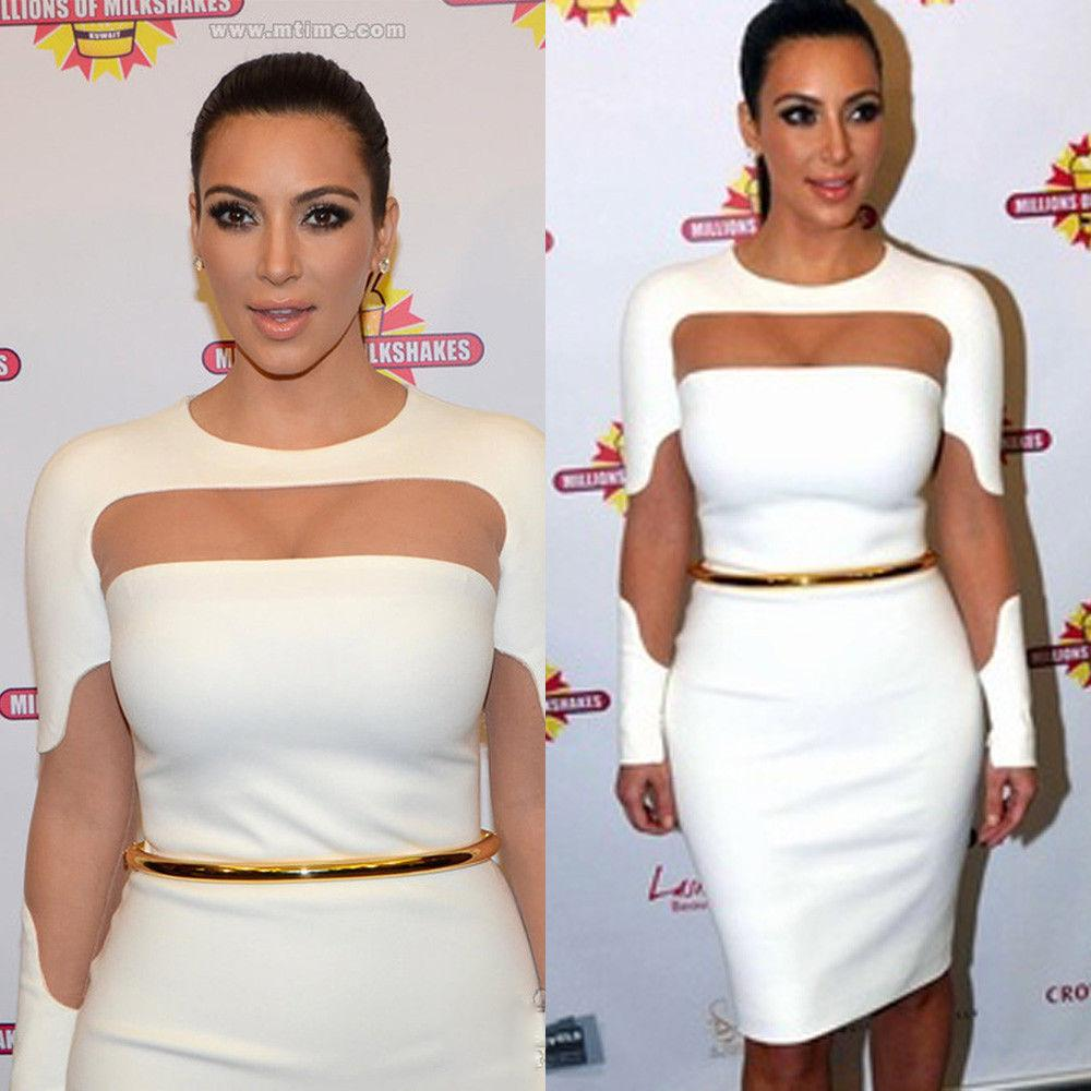 2015 New Slinky Bodycon Casual Dresses Kim Kardashian Dresses Sheer Patch-work Long Sleeves Pencil Party Night Out