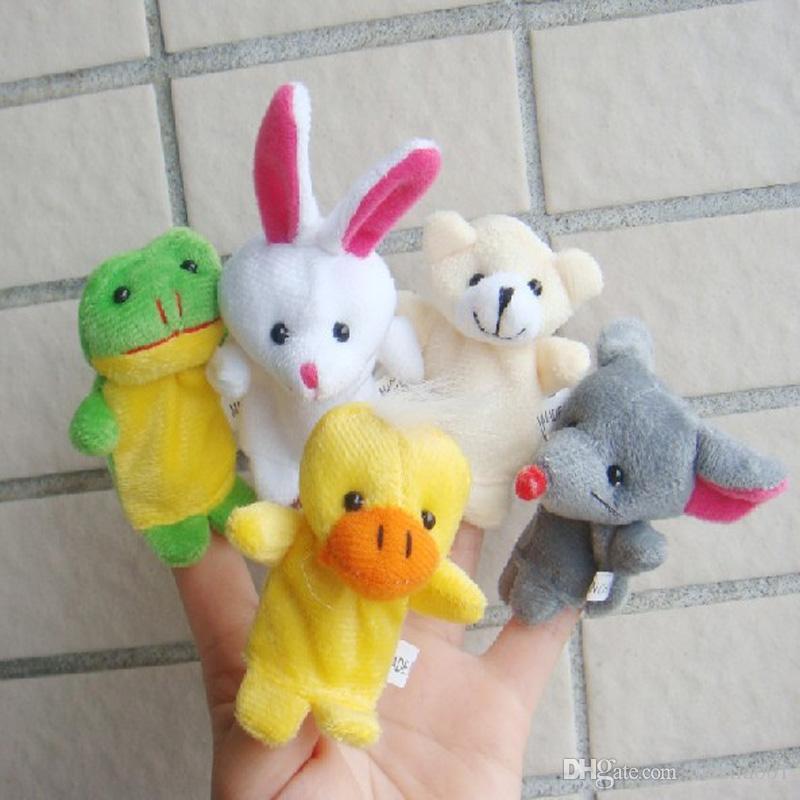 NEUE kleine Tiere Fingerpuppen Karikaturpuppen Kinderspielwarenpanda-Kaninchenmarionetten Parenting Geschenk geben Verschiffen frei