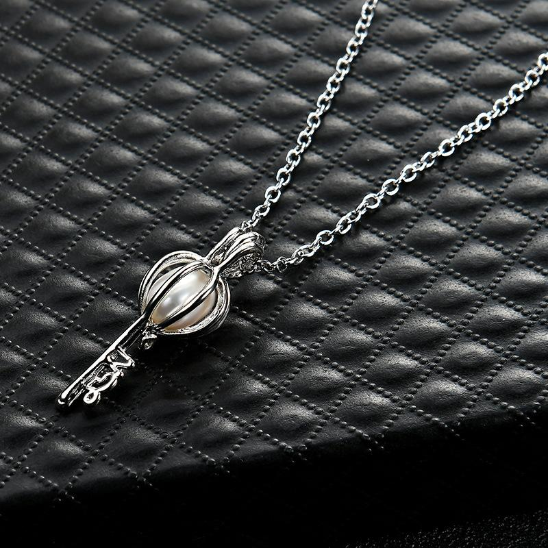 Chimes Pregnancy Ball necklace Luxurious floating Lockets romantic love jewelry silver hollow key oyster Pearl pendant necklaces Women