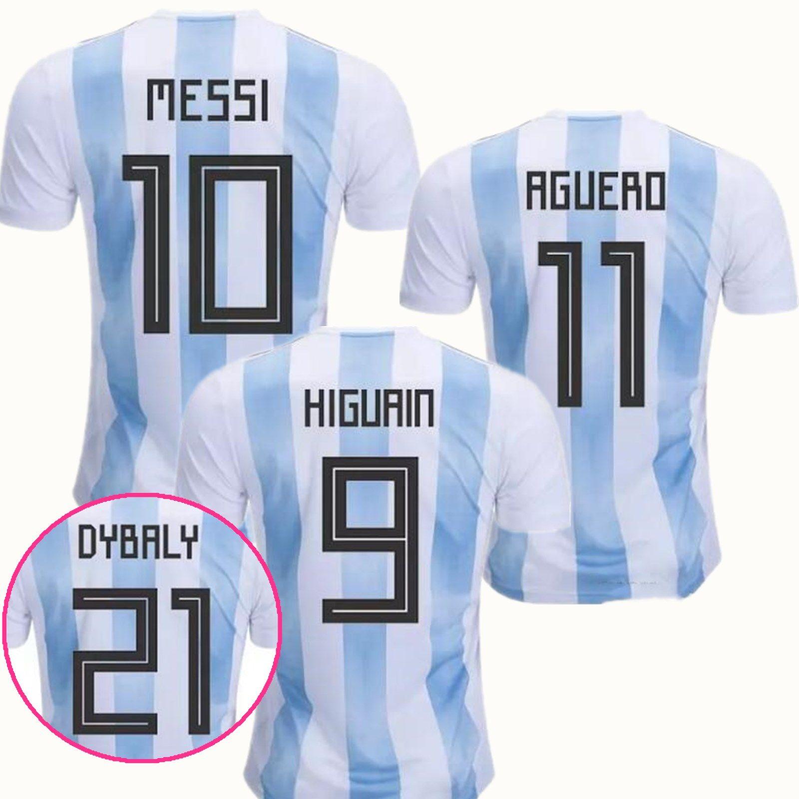 best deals on 1460c 61e6e 2018 Argentina World Cup Jersey 10 MESSI DI MARIA AGUERO KOMPANY DYBALA  Higuain Home Blue Away Adults Argentina Soccer Jersey football shirt