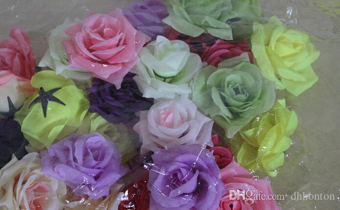 Rose tête Diamètre 7-8cm Fleurs artificielles en soie Camélia Rose tête100p Soie artificielle Camélia Rose fleur tête FB003