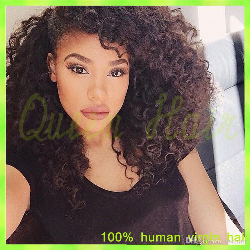 Full Lace Human Hair Wigs Brazilian Curly Virgin Hair 10mm Curl 12 to 24 Inch Natural Black African Amecian Full Hand Tied 2014
