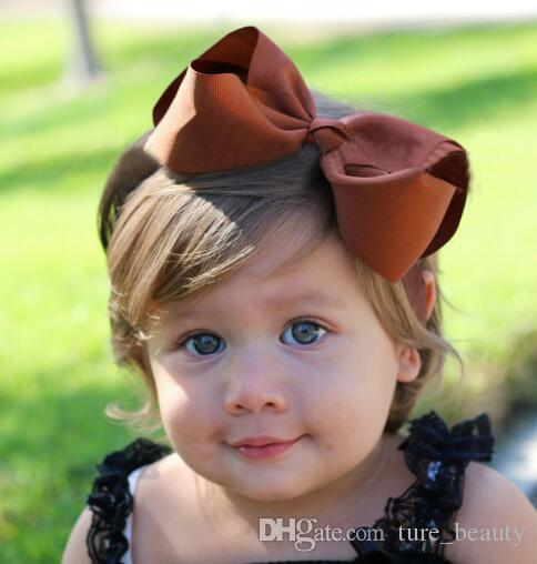 "EMS /DHL ! option !Lovely Baby Girls Soft 5""big Bow Headband Hairband Elastic Wedding/Christening/Party Hair Accessories! /"