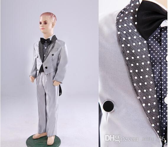 Handsome flower boy suits Child silver sequins tuxedo performance suit formal occasion party Suits jacket+pants+tie Custom made