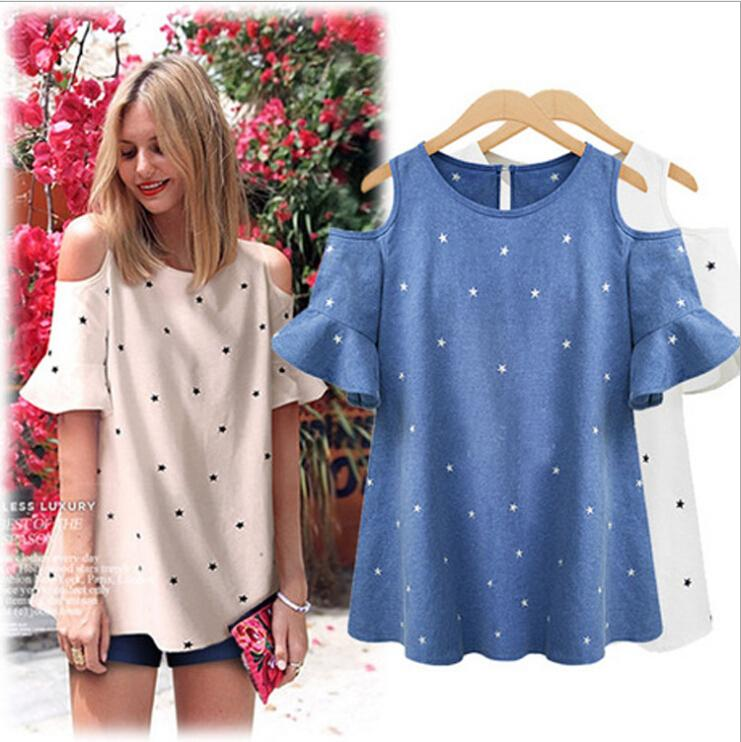 cb2e7cc5abdba 2019 2016 Spring Women Clothes Puff Sleeve Tops Style Women S Round Neck  Off Shoulder Print Stars Cotton Linen Ladies Tops Blouses Plus Size 5XL  From ...
