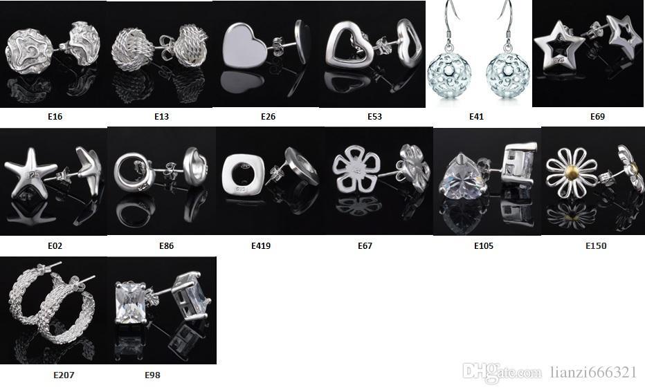 Moda fabricante de la joyería mezclado 50 piezas mucho pendientes 925 joyería de plata precio de fábrica Moda brillo pendientes 1271