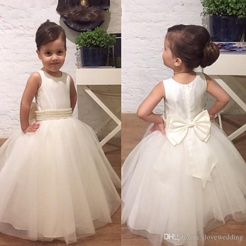 a5a4c683c08 Wholesale Cheap Long Flower Girls Dresses For Weddings Bow Beads Ivory  Tulle Bridal Pageant Dress For Little Girls Ball Gown 2017 Discount Flower  Girl Dress ...