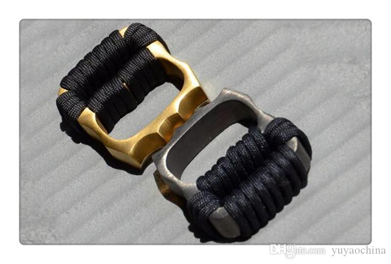 Wholesale Tied rope Thick Brass knuckles Knuckle dusters Belt Buckle,Women's Titanium TC4 Double Two Finger Knuckle