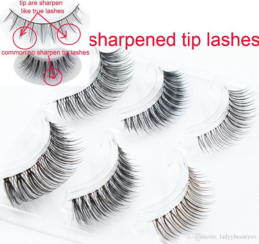 free shipping mixed styles eyelashes 3 pairs in a tray New Year promotional hand- sharpened high-grade synthetic fibers sharpened eyelashes