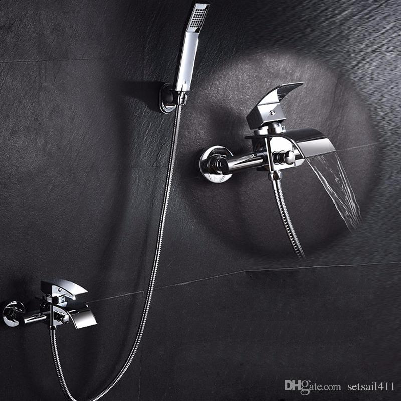 Surprising Waterfall Bathroom Faucet Bath Shower Faucet In Wall Waterfall Mixer Tap Bathtub Shower Faucets Sets With Rainfall Hand Showers Home Interior And Landscaping Eliaenasavecom