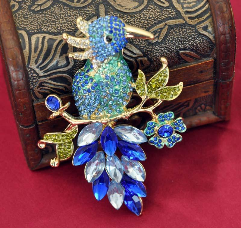 Broche de pássaro 2016 Presente para As Crianças 14 K Banhado A Ouro Colorido Strass Parakeet Enamel Broche 97x65mm