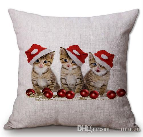 christmas decorative throw pillows animal cat kitty dog in xmas hat friendship cotton linen cushion cover cases children gifts patio cushion replacements
