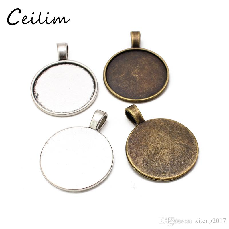 Silver & Bronze Colors 25mm Necklace Pendant Setting Cabochon Cameo Base Tray Bezel Blank Fit DIY 25mm Cabochons Jewelry Making Findings