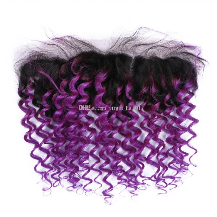 Art und Weise purpurrotes Haar-peruanisches menschliches Jungfrau-Haar 3Bundles mit Spitze Frontal-Mitte drei freie Teil-Spitze-Frontalschließung mit dem tiefen Wellen-Haar