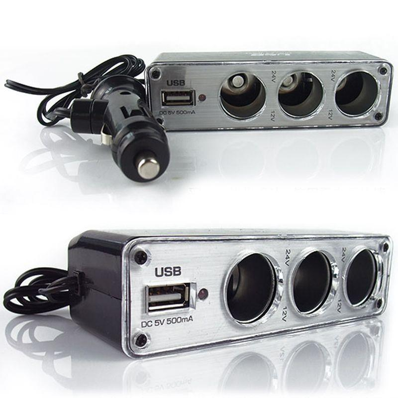 3 Sockets Car Cigarette Lighter Splitter Power Adapter + USB 12/24V Extension Cord Car Electronics Accessories High Quality