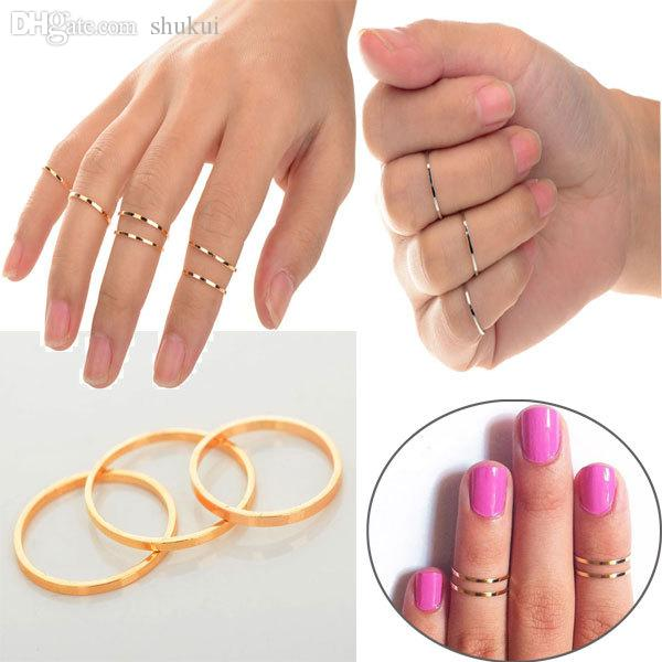 Wholesale Punk Urban Gold Stack Plain Knuckle Ring Set Band