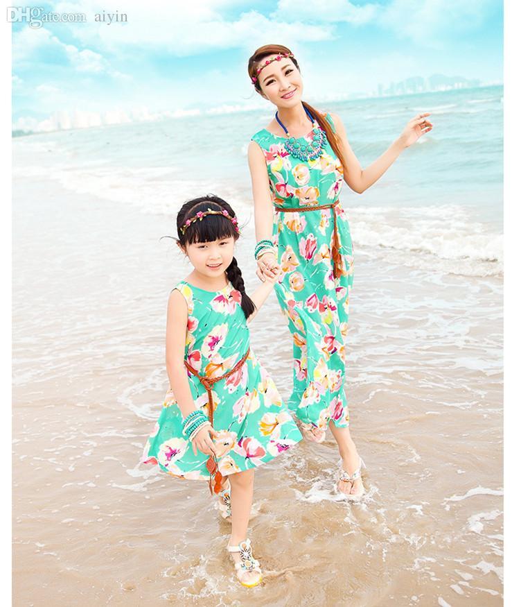 251fe6d3c1012 Wholesale-Fashion Mother Daughter Matching Clothes Swim Suits+Belt Mom and  Daughter Causal Dress Women Hawaiian Bohemia Designer Swimwear