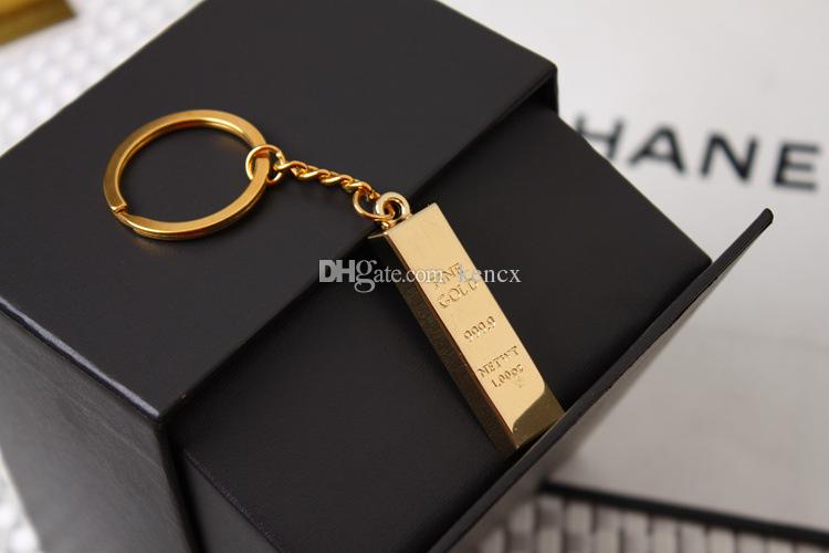 nouveau bar en or porte-clés en or pur porte-clés doré porte-clés femmes sac à main charmes pendentif en métal clé finder homme de luxe voiture porte-clés accessoire