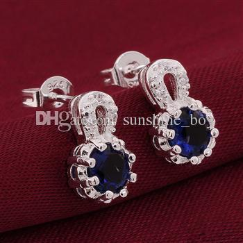 925 Silver jewelry crystal Charming women/girls nail Earrings Mix 12 style Choices Earrings Best gift