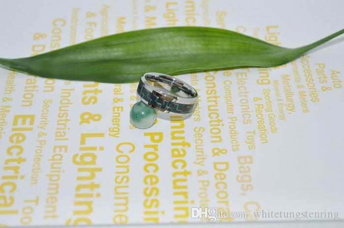 Gloednieuwe Tungsten Ringen GreenBlack Carbon Fiber Inlay Wedding Bands voor Heren Verlovingsringen