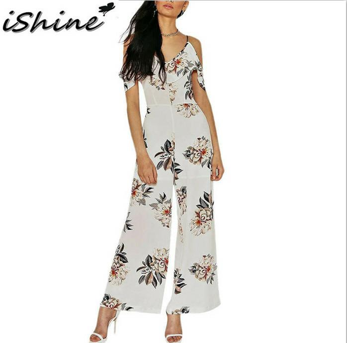441236480b0 2019 Wholesale IShine Summer White Ruffles Cold Shoulder Floral Print Long  Jumpsuit Romper Women Sexy Loose Playsuit Summer 2017 Beach Overalls From  ...