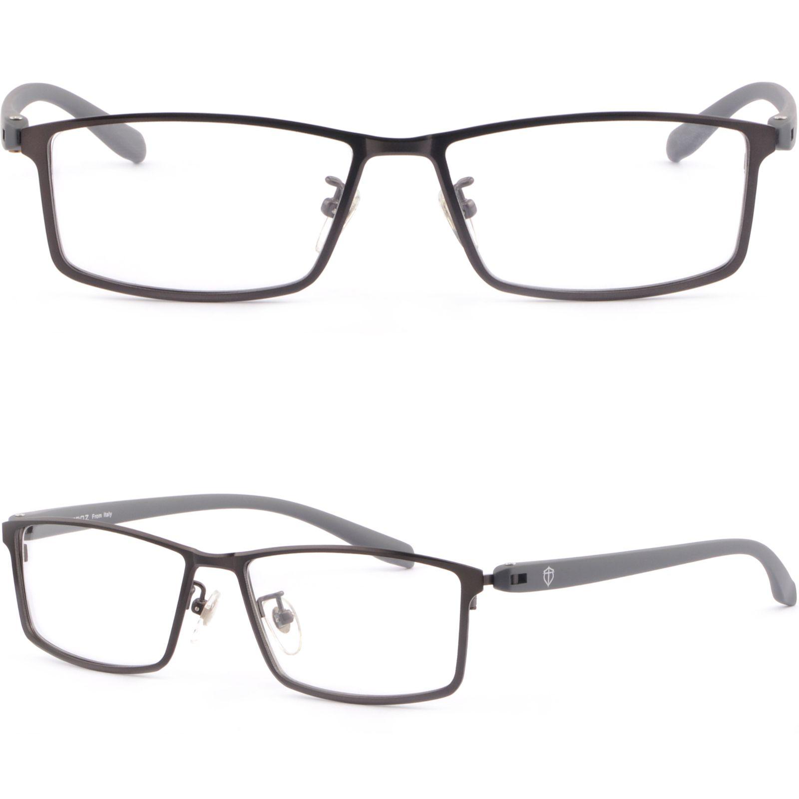 Gray Light Mens Titanium Frames Plastic Arm Prescription Glasses ...