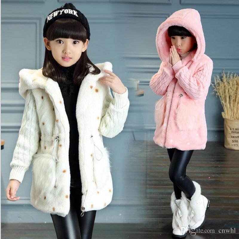 b239af612 Girls Winter Imitation Fur Coat 2017 Girls Faux Fur Coat Children Baby  Smile Dot Fur Clothes Kid Thick Plus Velvet Coat Imitation Fur Coat Girls Faux  Fur ...