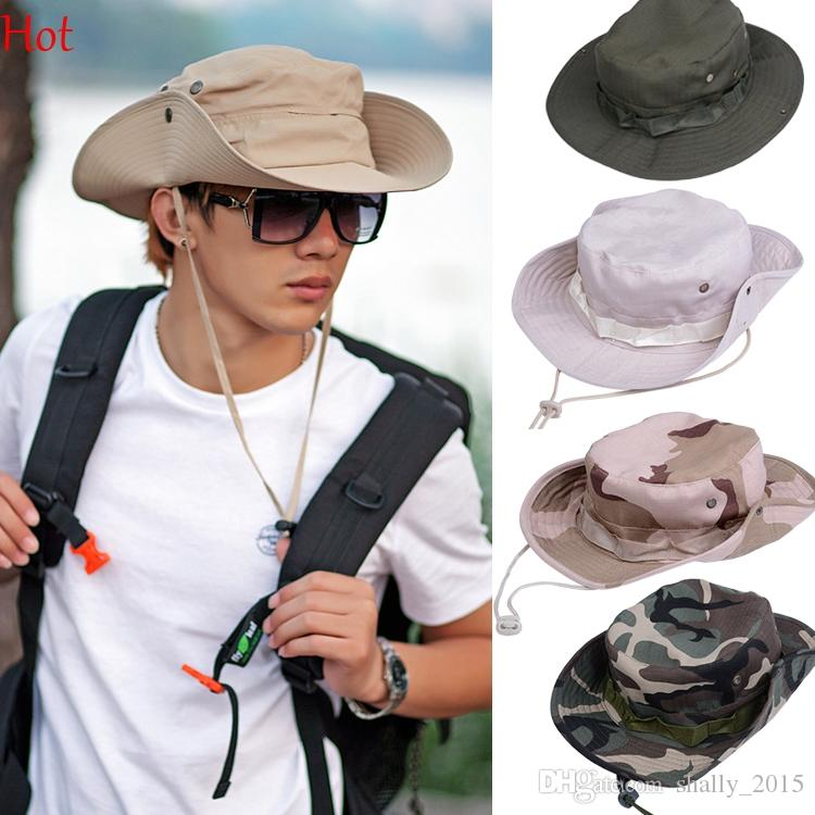 2ee70bb58c660 2019 Military Camouflage Bucket Hats Camo Fisherman Hats Sun Wide Brim Sun  Fishing Bucket Caps Camping Hunting Hat Chapeau Green Khaki SV003003 From  ...