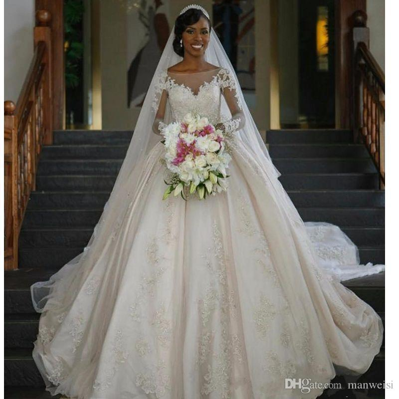 Princess Wedding Gowns With Sleeves: Modest Chapel Princess Ball Gown Wedding Dresses Cathedral
