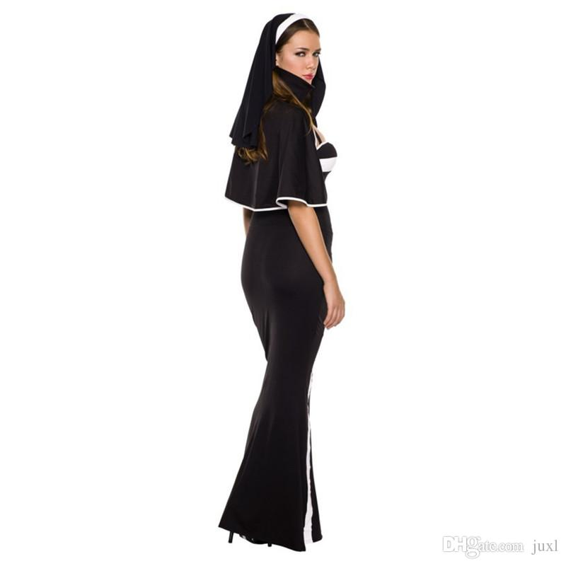 Sexy Women Lady Black White Stripe Nun Sister Cosplay Costume Performance Costumes Long Dress Halloween Party Dress Supplies