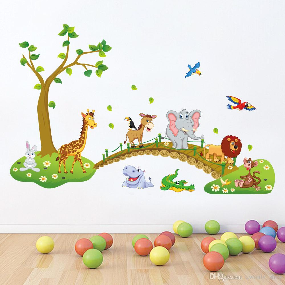 3D Cartoon Jungle Wild Animal Tree Bridge Flowers Wall Stickers for Kids Room Living Room Lion Giraffe Elephant Birds Home Decor