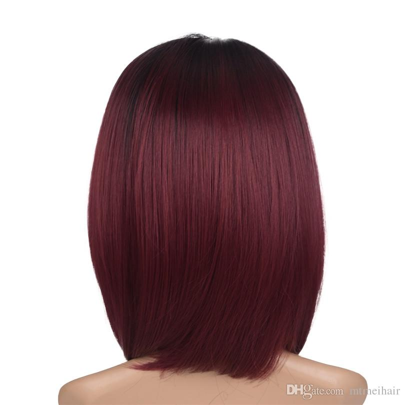 Synthetic Hair Wigs short ombre bob straight Heat Resistant Wigs For Black Women Mtmei hair ombre two tone color hair