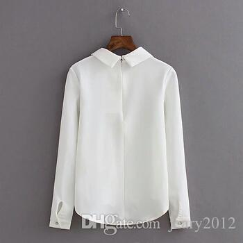 أزياء المرأة بلوزة 3D القط مطبوعة تي شيرت القميص التلبيب عنق طويل الأكمام أبيض أعلى عارضة سيدة Blusas الكورية نمط عارضة البلوزات