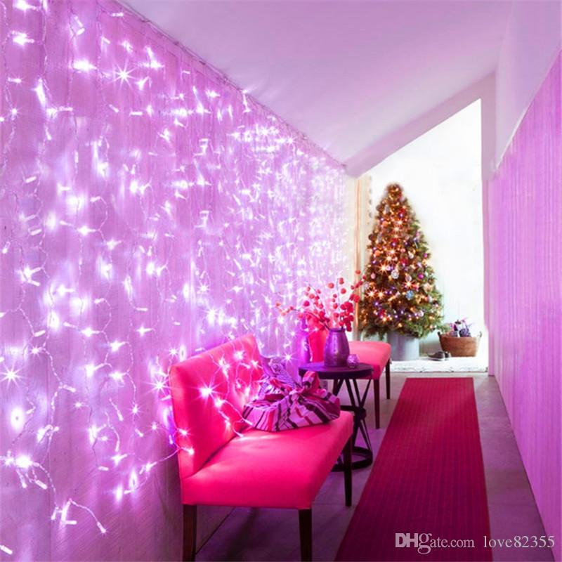 새로운 4m * 4m 512LED 조명 깜박이 LED 문자열 램프 커튼 크리스마스 가정 정원 축제 조명 110v-220v EU 영국 미국 AU