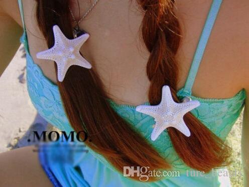 Hecho a mano el diy horquillas natural real starfish lado carpeta clip superior duckbill clip accesorios para el cabello tocado stay sea aw aw unids /