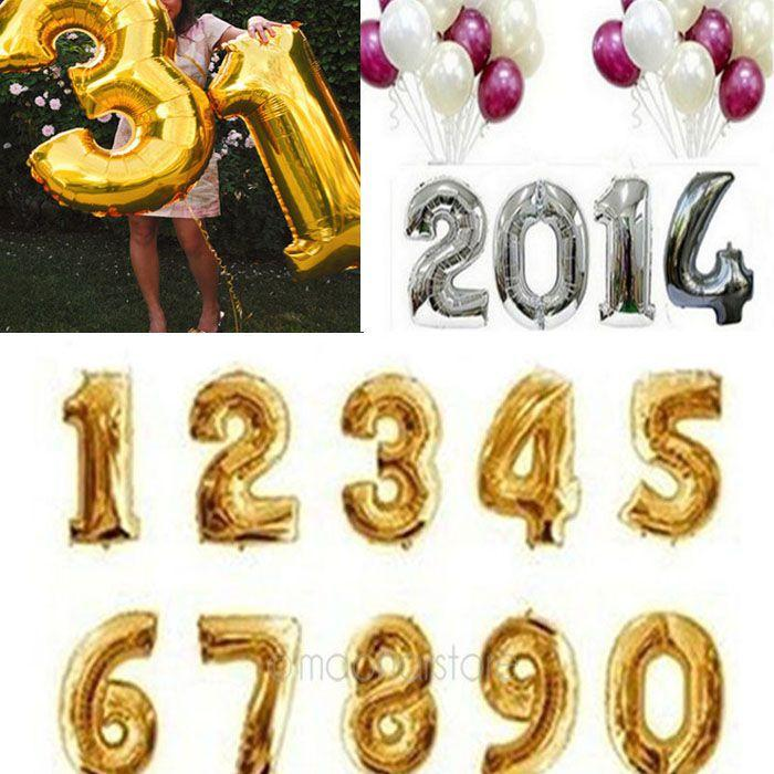 16 Silver Gold Number Balloons 0 9 Foil Alphabet Letters A Z Birthday Party Wedding Decoration New