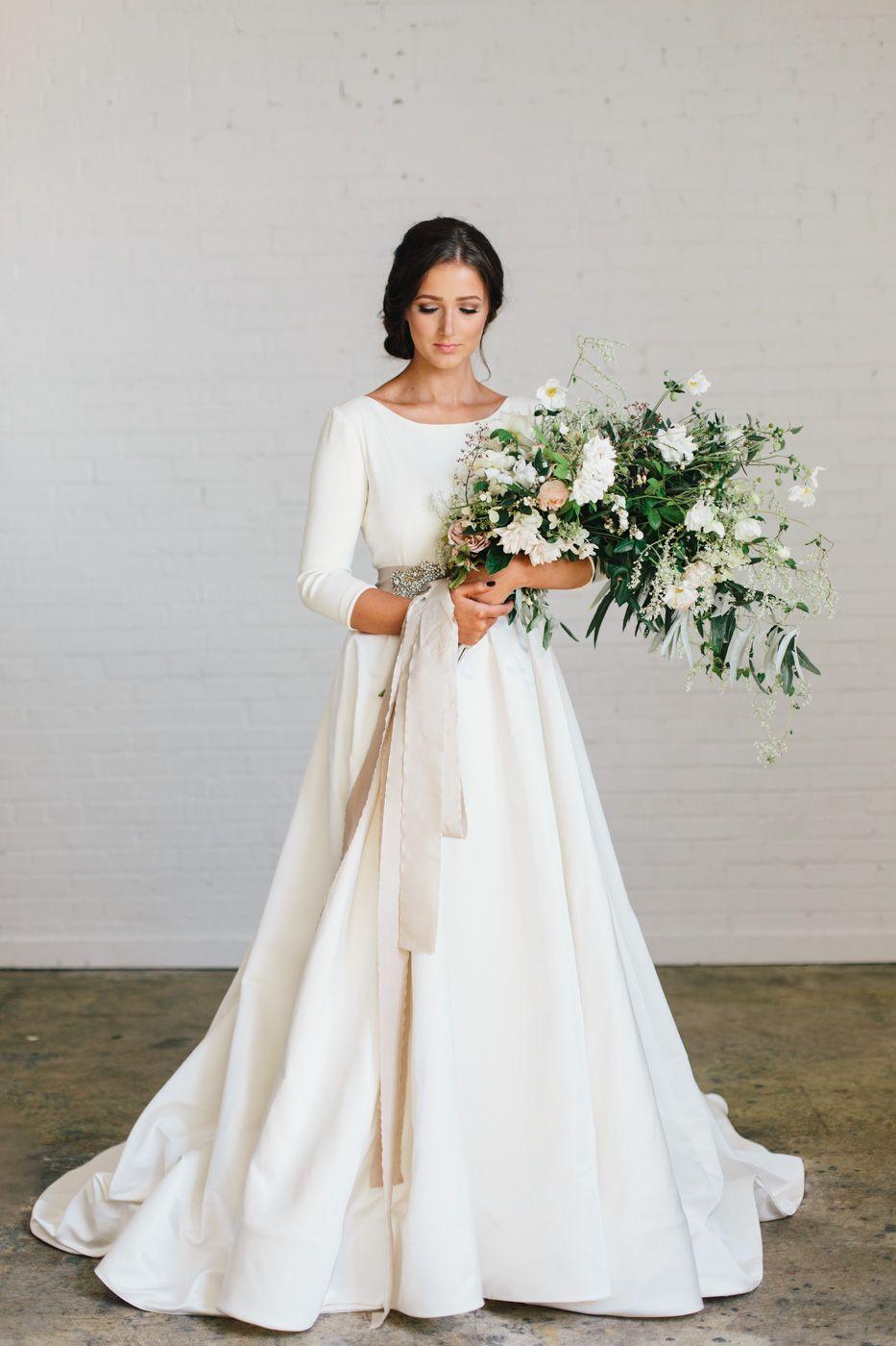 Satin Modest Wedding Dresses