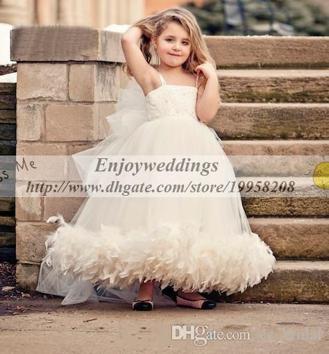 White Ivory Tulle Flower Girl Dress For Wedding Kids Princess Dress Girl Tutu Dress Wedding Custom Made Feathers Girls Wedding Party Dress