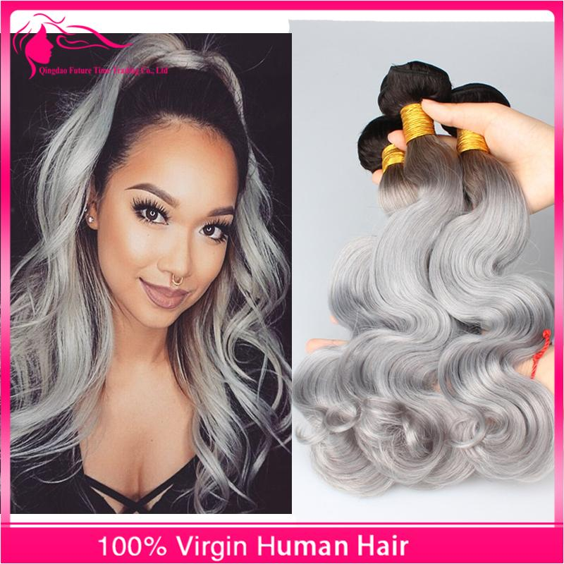 New Arrivalling #1B/Grey 9A Brazilian Virgin Human Hair Body Wave Silver Grey Two Tone Ombre Hair Extensions
