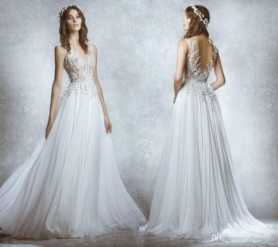 Discount Vintage 2016 Zuhair Murad Wedding Dresses Lace Appliqued A Line Dress Sheer Jewel Neckline Illusion Back Chiffon Country Bridal Gowns Strapless