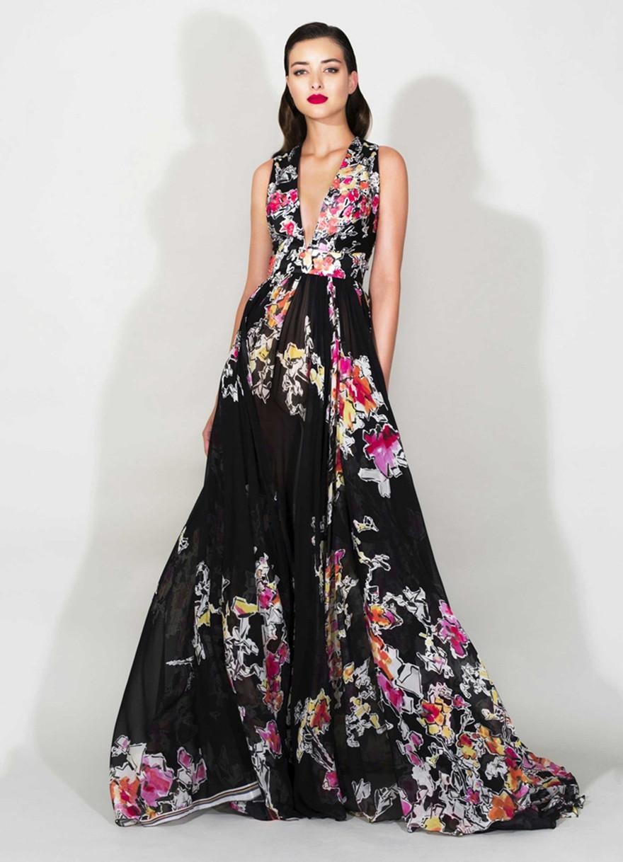 2016 Zuhair Murad V Neck Printed Prom Gowns Fashion A Line ...