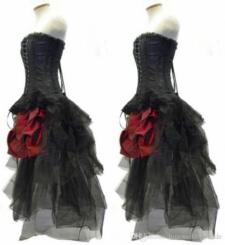 dbcf567e7a6 Red And Black Flower Gothic Corset High Low Prom Dresses 2017 Steampunk  Outfit Strapless Hi Lo Bustle Party Gowns Cinderella Prom Dresses Design  Your Own ...