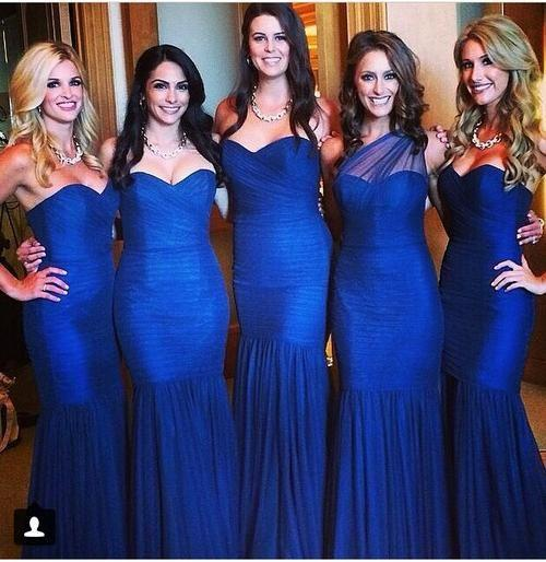 2016 Navy Blue Bridesmaid Dresses Sexy Mermaid Sweetheart Pleats Ruched Floor Length Wedding Party Gowns Formal Evening Dresses BO9196