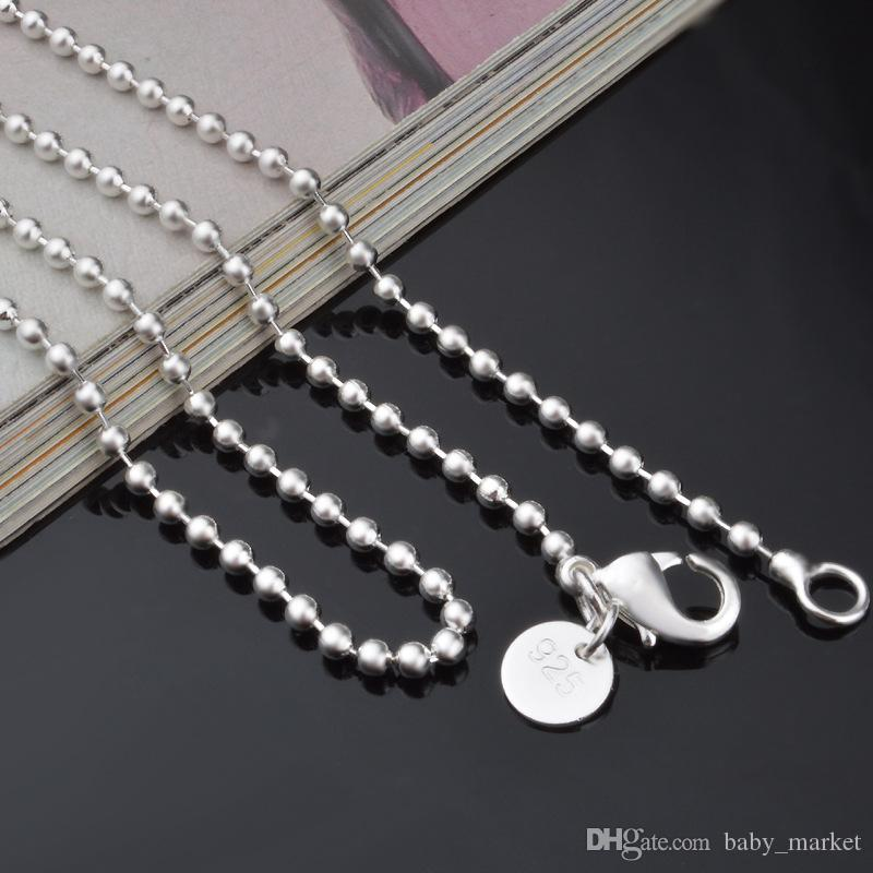 SALE! Fashion jewelry 925 Silver Bead Ball Link Necklace Chain 2.4mm 16 18 20 22 24 inch XMAS gift