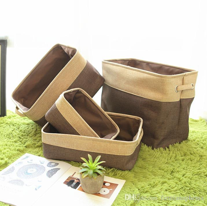 Home Housekeeping Brief cotton linen foldable Desk storage box fabric Basket household clothes sundries organizer
