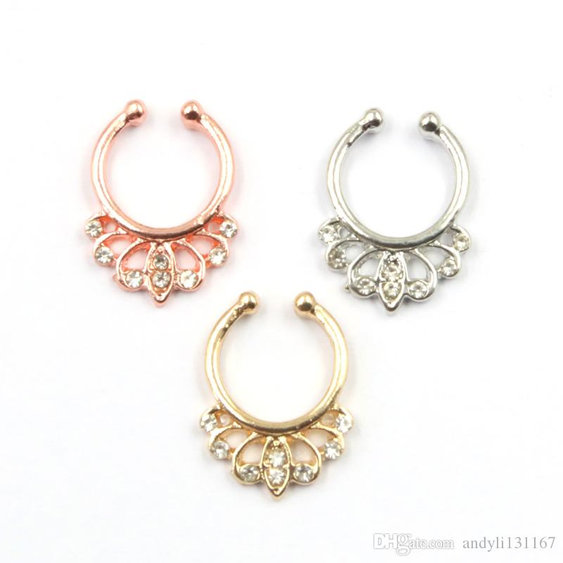 indian crystal faux piercing nez alloy gold and silver on clip hoop fake septum ring nose for women body jewelry N0057