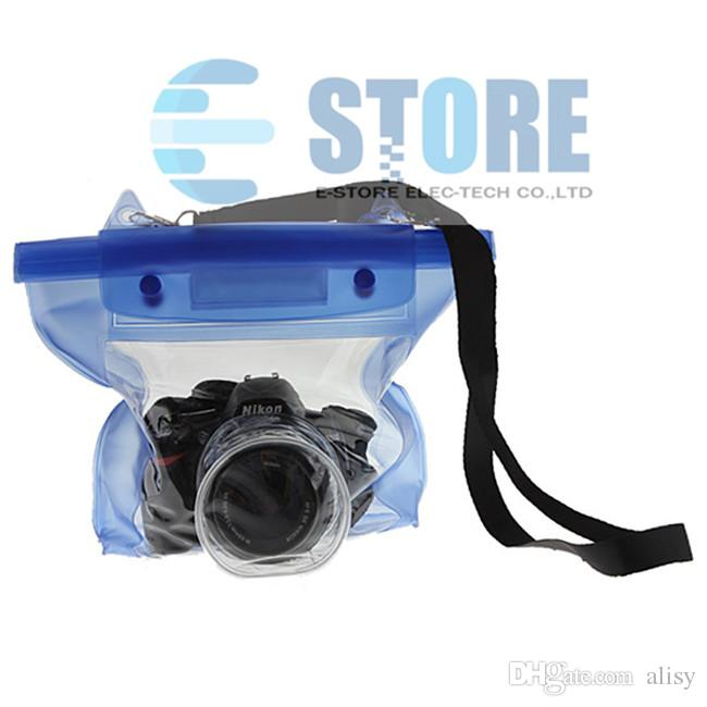 Bleu Étanche Numérique Caméra DSLR Cas Sous-Marine Plongée Flottant Poche Logement Sac Pour Canon Pour Sony Pour Nikon D7000