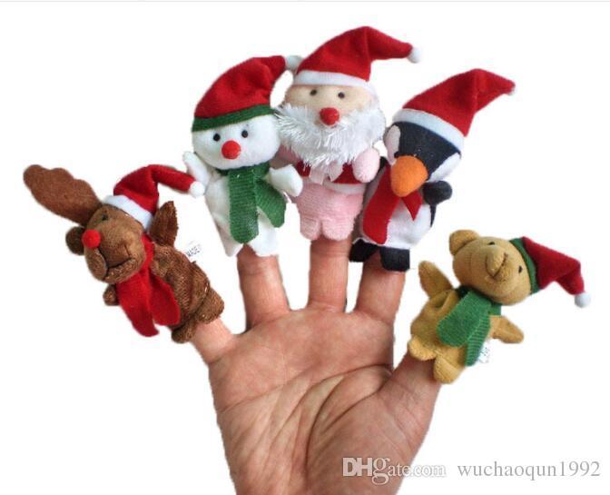 5 adet / grup Noel Parmak Kuklaları Peluş Oyuncaklar Karikatür Noel Baba Kardan Adam El Kukla Noel Geyik Doldurulmuş Hayvanlar