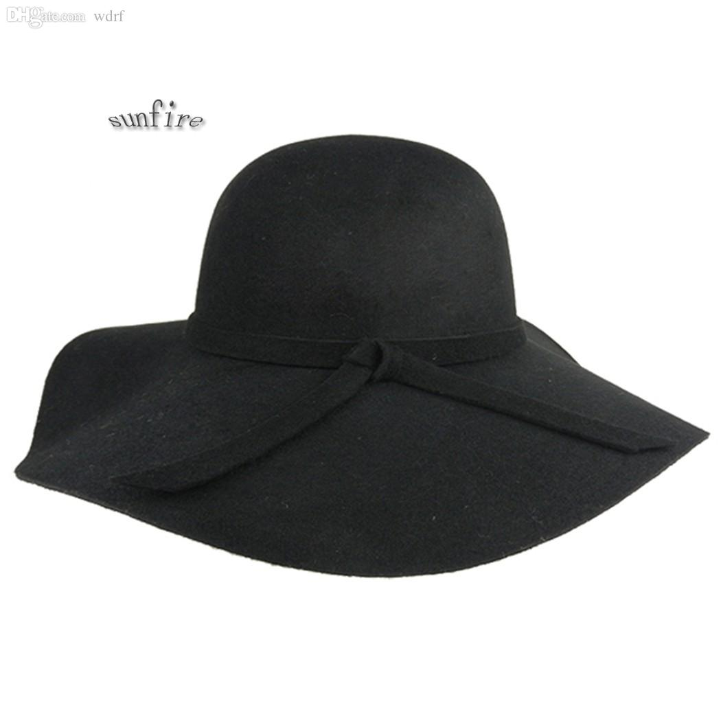 1985b7126bbf7 Wholesale Women Vintage Wool Felt Crushable Wide Brim Cloche Fedora Floppy  Sun Beach Hat Cap Goth Bowknot Band Floppy Hat Kangol Hats From Wdrf